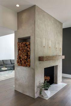 Concrete Fireplace, Home Fireplace, Fireplace Remodel, Fireplace Design, Fireplace Ideas, Modern Fireplace Decor, Modern Mantle, Wood Mantle Fireplace, Floating Fireplace