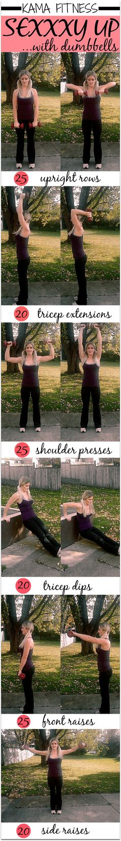 THE WORKOUT  Complete the following exercises & reps without any rest in between each exercise. This is one round. Complete a total of 3 rounds with 2 minutes rest in between each round. If you're advances – skip rest altogether and aim for 5 rounds. 25 Upright Rows 20 Tricep Extensions 25 Shoulder Presses 20 Tricep Dips 25 Front Raises 20 Side Raises