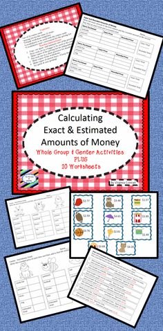 Lots of goodies to help you teach your students how to find estimated and exact money amounts.
