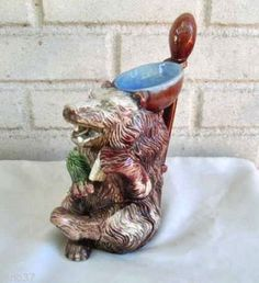 Large-Modern-Figural-Majolica-Bear-with-Spoon-and-Bowl