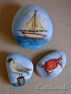 Maritime Rock Paper Weights decoupage ideas with tutorials