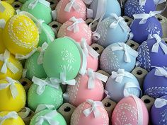 Pastel Colored Eggs with White Paint