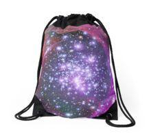 Purple Galaxy and Stars Drawstring Bag