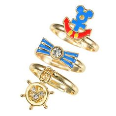 Marine Mickey Mouse 3 Piece Ring Set
