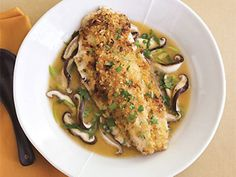 Ginger-Miso Striped Bass in Shiitake Mushroom Broth Recipe - perfect for Colorado Hybrid Striped Bass - you can even buy the fish to ship to your house!