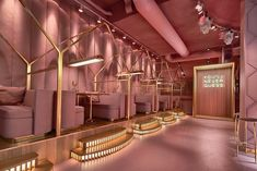 If you are tired of the Millennial Pink then you shouldn't go visit Amsterdam restaurant MaMa Kelly ! Located at the Olympisch Stadion in Amsterdam outskirts, the square-foot, 230 seats entirely pink restaurant has an interesting concept: they Modern Restaurant, Image Restaurant, Pink Restaurant, Luxury Restaurant, Luxury Cafe, Restaurant Lighting, Beauty Salon Interior, Salon Interior Design, Boutique Interior