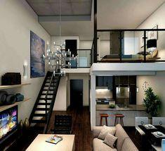 Loft Apartment Decorating, Apartment Design, Apartment Ideas, Apartment Goals, Apartment Layout, Apartment Interior, Studio Apartments, Small Apartments, Rental Apartments