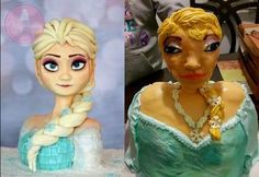 A mom ends up with a disappointing  and terrifying 'Frozen' themed cake for her daughter's birthday.
