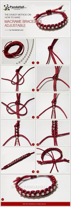 Jewelry Making IdeaHow to Make Adjustable Macrame Bracelets It is another bracelet making tutorial, at meanwhile, I will emphasize the subject about how to make macrame bracelets adjustable in simple way again. Especially for those who learn to knot for j Macrame Jewelry, Macrame Bracelets, Wire Jewelry, Jewelry Crafts, Jewelry Ideas, Wire Rings, Jewelry Shop, Jewlery, Jewelry Bracelets