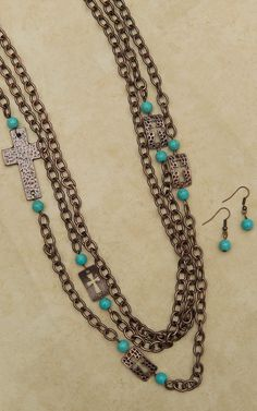 Multi-Strand Copper Chain Necklace and Earrings Set with Crosses and Turquoise Beads