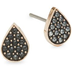 Swarovski Pavé Crystal Ginger Pierced Stud Earrings ($44) ❤ liked on Polyvore featuring jewelry, earrings, black, rose earrings, rose jewellery, swarovski jewelry, post earrings and pave earrings