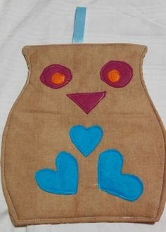 Eule blaue Herzchen Pot Holders, Small Shops, Potholders, Owls, Hand Crafts, Fabrics, Blue, Hot Pads