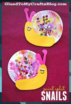 Paper Plate & Paint Splat Snails - Spring Kid Craft Idea Paint Splat Snails - Kid Craft Idea Paper Plate Snails<br> Snails may be slow in real life BUT this Paint Splat Snails kid craft idea is quick, easy and totally re-creatable for ANY skill-level! Easy Fall Crafts, Spring Crafts For Kids, Art For Kids, Tissue Paper Crafts, Paper Plate Crafts, Paper Plates, Fabric Crafts, Daycare Crafts, Toddler Crafts