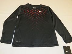 Nike Dri Fit active L/S shirt youth girls 6 86A341 023 black dots Swoosh NWT*^ #Nike