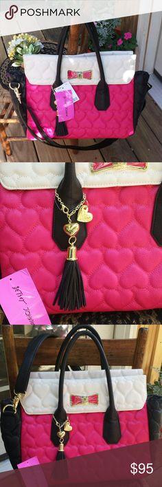 Betsy Johnson crossbody bag Lg. Betsy crossbody bag. Has magnetic closure. Adjustable crossbady strap and handles. 1 zip pocket inside and 2 slip pockets. Gold hardware. Pink, white and black...So cute! ?????? Betsy Johnson Bags Crossbody Bags