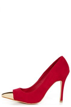 Festive feet - Mixx Teresa Red and Gold Cap-Toe Pointed Pumps #lulusholiday