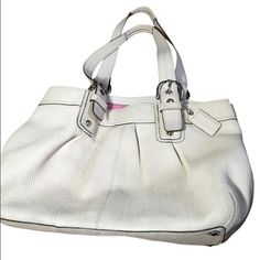 Coach soho large beige ivory pebble leather purse Nice off-white/ivory pebble leather coach purse with pink insides! Extra large! Can hold a lot! It's in perfect shape!! Soho shoulder tote style. Coach Bags