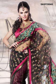 $90 Rich Black Net Saree From Cbazaar