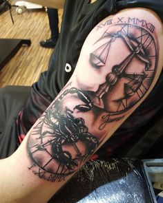 Scorpio and Libra Coverup Tattoo - Scorpio and Libra Coverup Tattoo - Libra Tattoo, Libra Scale Tattoo, Libra Zodiac Tattoos, Up Tattoos, Arm Tattoos For Guys, Mini Tattoos, Sleeve Tattoos, Tatoos, Family Tattoo Designs