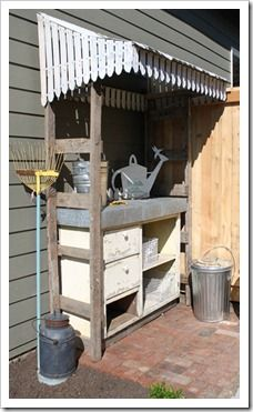 I have a couple of metal window awnings ... Kind of a cool idea if you could do it with pallets, etc. Hmmmm