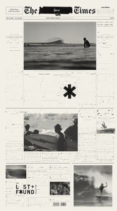 Surf, lost, found, poster, black and white, news in Design. Gerald Lewis.
