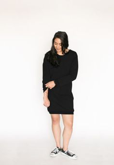 *pre-sale* Sweatshirt Dress – black (ships in 2 to 4 weeks)  $99.00    The comfort of a sweatshirt with the sweetness of a long sleeve dress. Our brand new sweatshirt dress is the cutest with jeans, leggings and casual sneakers, try one and we can pretty much guarantee that you will not take it off! If you have tried our Cozy Cowl Neck Sweatshirt you will love this one! Jeans Leggings, Pretty Much, Sweatshirt Dress, Casual Sneakers, Fall 2016, Cowl Neck, Ships, High Neck Dress, Cozy