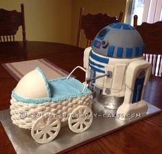 Delightful Awesome Homemade R2D2 Baby Shower Cake