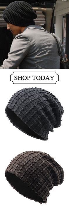 5ab47ffe85d62 Mens Cotton Stripe Thicken Beanie Hats Casual Windproof Visor Hats  outdoor   outfit