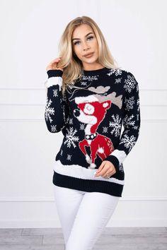 Pulover de dama bleumarin cu imprimeu de Craciun Christmas Sweaters, Fashion, Elegant, Tricot, Moda, Fashion Styles, Christmas Jumper Dress, Fashion Illustrations, Tacky Sweater