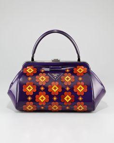 Mini Floral-Applique Doctor\'s Bag by Prada at Neiman Marcus. New Man Clothing, Bag Women, Flower Bag, Purple Bags, Prada Bag, Bago, My Bags, Purse Wallet, Purses And Handbags