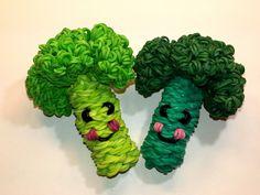 3-D Happy Broccoli Tutorial (Rainbow Loom) by Feelin' Spiffy.