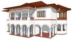 casa in stil neoromanesc Design Case, Byzantine, Home Fashion, Romania, House Plans, Ottoman, Exterior, House Design, Windows