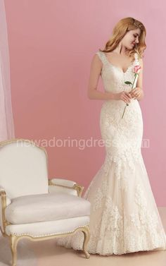 US$220.15-Plunging Neck Lace Mermaid Wedding Dress with Open Back. http://www.newadoringdress.com/plunging-neck-lace-mermaid-wedding-dress-with-open-back-pHT_708786.html
