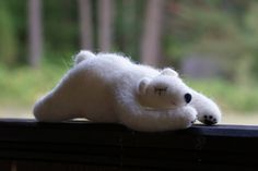 needle felted polar bear, needle felted animal, wool felt, polar bear art, polar bear ornament, gift, home decor, needle felting