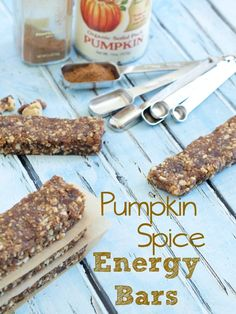 Pumpkin Spice Energy Bars.  These easy no bake energy bars are great to have on hand when you need a quick snack. They are just 6 ingredients and ready in 10 minutes!