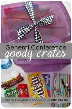 How to assemble a General Conference goody crate - such a great idea!