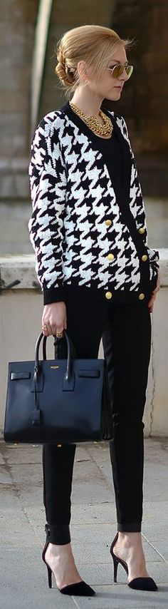 For a day at the office, she enjoys houndstooth print and the glamorous look it creates in an outfit (remove the gold layered chains and keep one for a more simplistic look)