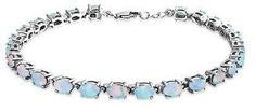 Bling Jewelry 925 Silver Synthetic White Opal Oval Tennis Bracelet 7.5in.