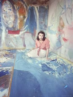 Helen Frankenthaler,  American abstract expressionist painter Her painting were from the post war era until the 1990's. Done in a enormous large scale works that continued to evolve throughout her life to be more abstract than any form of recognizable figures or subject matter. .
