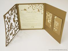 Garden forest Laser cut wedding folder - http://www.classicweddinginvitations.com.au/diy-tools-for-wedding-invitations/ - From $8.00