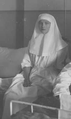 One of the best photographs of the Grand Duchess Tatiana I have ever seen. Wearing her Red Cross nurses uniform during WWI