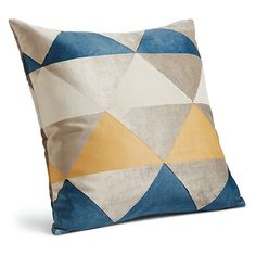 The modern triangle pattern of this throw pillow is hand block-printed onto luxurious velvet in a Philadelphia workshop. The included feather-and-down insert feels substantial and is resilient. Modern Throw Pillows, Blue Pillows, Decorative Throw Pillows, Decorative Items, Room And Board Living Room, Ottoman In Living Room, Fabric Feathers, Modern Bedroom Furniture