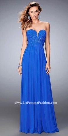 Double Back Straps with Rhinestones Prom Dress By La Femme  #dress #fashion #designer #lafemme #edressme