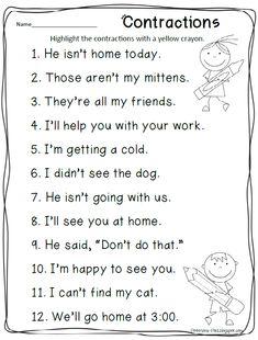 contractions activity via Petersons Pad: freebies 2nd Grade Grammar, 2nd Grade Ela, First Grade Phonics, First Grade Writing, Teaching First Grade, 2nd Grade Reading, Student Teaching, Second Grade, Grade 2
