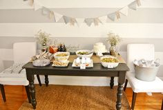Grey & white food table