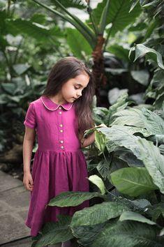 Linen Girl Dress Toddler Girl Dress Rustic Girl Dress Fuchsia Girl Dress Gift for Girl Summer Girl Dress Linen Toddler Dress