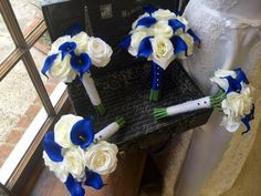 Royal Blue Ivory Rose Wedding Bouquet 17 by SilkFlowersByJean