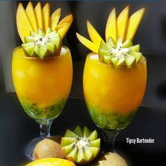 Check out the Kiwi & Mango Cocktail! Perfect for your tropical vacation! For the recipe, visit us here: www.TipsyBartender.com