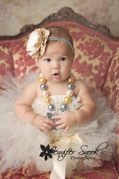 Save 15% off order Newborn or Baby girl tutu Classic cream off white vinatge shabby Tutu satin bow holiday christmas photography prop. $25.00, via Etsy.