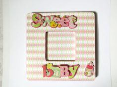 Baby Girl Picture Frame Decoupaged Frame Baby Gift
